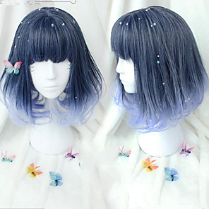 cheap Costume Wigs-Cosplay Wig Lolita Curly Cosplay Halloween Bob Neat Bang Wig Medium Length Black Synthetic Hair 18 inch Women's Anime Cosplay Color Gradient Ombre