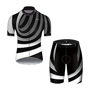 cheap Cycling Jerseys-21Grams Men's Short Sleeve Cycling Jersey with Shorts Nylon Polyester Black / White 3D Stripes Gradient Bike Clothing Suit Breathable 3D Pad Quick Dry Ultraviolet Resistant Reflective Strips Sports 3D