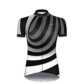 cheap Cycling Jerseys-21Grams Women's Short Sleeve Cycling Jersey Nylon Polyester Black / White 3D Stripes Gradient Bike Jersey Top Mountain Bike MTB Road Bike Cycling Breathable Quick Dry Ultraviolet Resistant Sports