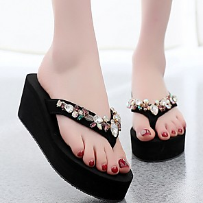 cheap Party Sashes-Women's Slippers & Flip-Flops 2020 Summer Flat Heel Round Toe Daily Solid Colored PU Black / Beige