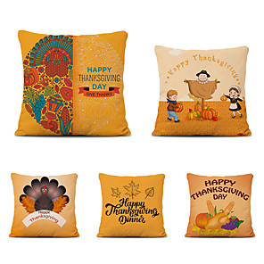 cheap Throw Pillow Covers-Set of 5 Thanksgiving Linen Square Decorative Throw Pillow Cases Sofa Cushion Covers 18x18