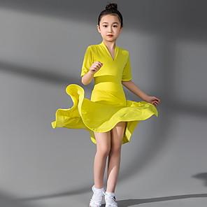 cheap Latin Dancewear-Latin Dance Kids' Dancewear Dress Ruching Girls' Training Daily Wear Short Sleeve Polyester