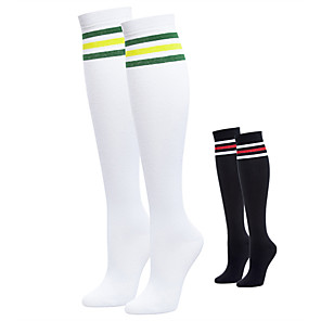 cheap Golf Clubs-Women's 2 Pairs Golf Thigh High Socks Stripes Moisture Wicking High Elasticity Sweat-wicking Spring Summer Sports Outdoor / Cotton / Spandex
