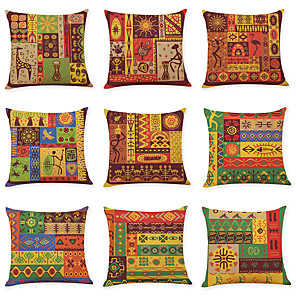 cheap Throw Pillow Covers-9 pcs Linen Pillow Cover, Indian Style Square Traditional Classic