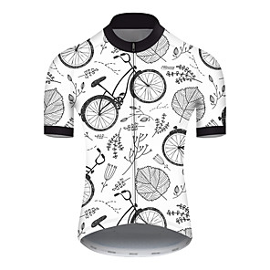 cheap Cycling Jersey & Shorts / Pants Sets-21Grams Men's Short Sleeve Cycling Jersey Nylon Polyester Gray+White Leaf Floral Botanical Bike Jersey Top Mountain Bike MTB Road Bike Cycling Breathable Quick Dry Ultraviolet Resistant Sports