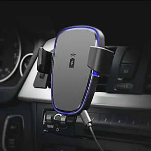 cheap Car Charger-360 Degree Rotation Qi Car Air Vent Wireless Phone Charger Holder Black ABS Stand Mount for IPhone X
