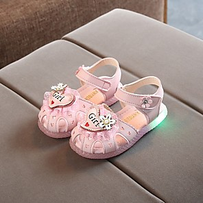 cheap Kids' Sandals-Girls' Sandals LED Shoes PVC Little Kids(4-7ys) White / Fuchsia / Pink Summer