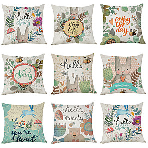 cheap Throw Pillow Covers-9 pcs Linen Pillow Cover, Animal Cartoon Casual Cartoon Square Traditional Classic