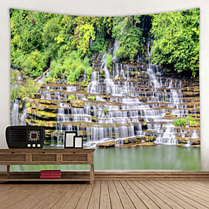 cheap Wall Stickers-Alpine Waterfall Digital Printed Tapestry Decor Wall Art Tablecloths Bedspread Picnic Blanket Beach Throw Tapestries Colorful Bedroom Hall Dorm Living Room Hanging