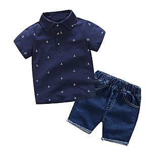 cheap Boys' Clothing Sets-Kids Boys' Basic Print Short Sleeve Clothing Set White