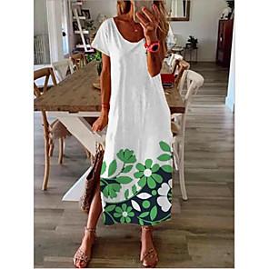 cheap Wall Stickers-Women's A-Line Dress Maxi long Dress - Short Sleeves Print Summer Casual Mumu 2020 White Black S M L XL XXL XXXL
