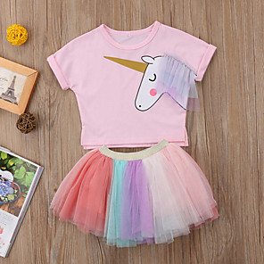 cheap Kids Collection Under $8.99-Kids Girls' Basic Festival Unicorn Print Print Short Sleeve Regular Regular Clothing Set Blushing Pink