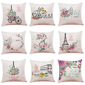 cheap Throw Pillow Covers-9 pcs Linen Pillow Cover Flower Bicycle Linen Pillow Case Car Pillow Cushion Sofa Pillow Pillow Office Nap Pillow