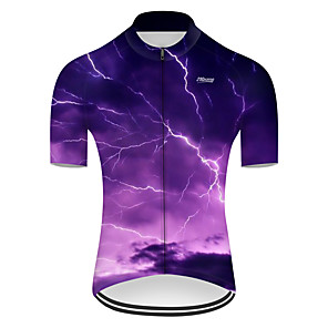 cheap Cycling Jerseys-21Grams Men's Short Sleeve Cycling Jersey Nylon Polyester Violet 3D Lightning Gradient Bike Jersey Top Mountain Bike MTB Road Bike Cycling Breathable Quick Dry Ultraviolet Resistant Sports Clothing
