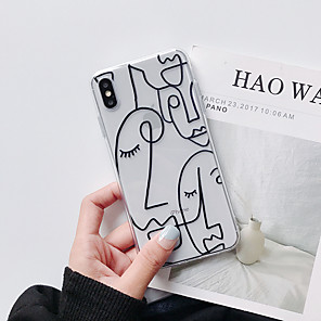 cheap iPhone Cases-Funny Cartoon Fashion TPU iPhone 6 iPhone7 iPhone 8 iPhone 11 iPhone 11 Pro iPhone 11 Pro Max iPhone XS iPhone XR Transparent Line Drawing Head Pattern Back Cover iPhone Phone Case