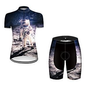 cheap Cycling Jerseys-21Grams Women's Short Sleeve Cycling Jersey with Shorts Nylon Polyester Black / White 3D Astronaut Bike Clothing Suit Breathable 3D Pad Quick Dry Ultraviolet Resistant Reflective Strips Sports 3D