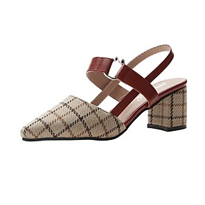 cheap Women's Sandals-Women's Sandals Summer Pumps Pointed Toe Daily PU Black / Beige