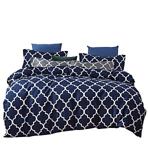 cheap Solid Duvet Covers-Duvet Cover Sets 3 Piece Bedding Sets Blue White Geometric Pattern Polyester Ultra Soft (1 Flat Sheet 1 Duvet Cover 1 Pillowcase)