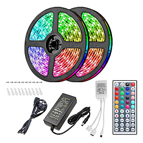 cheap LED Strip Lights-10m Light Sets LED Light Strips RGB Tiktok Lights 300 LEDs 5050 SMD 10mm Remote Control / RC / Cuttable / Dimmable 100-240 V / Linkable / Suitable for Vehicles / Self-adhesive / Color-Changing / IP44