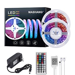 cheap LED Strip Lights-MASHANG 32.8ft 10M LED Strip Lights RGB Tiktok Lights 600LEDs Flexible Color Change SMD 2835 with 44 Keys IR Remote Controller and 100-240V Adapter for Home Bedroom Kitchen TV Back Lights DIY Deco