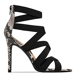 cheap Women's Sandals-Women's Sandals Summer Stiletto Heel Open Toe Daily PU Almond / Black / Animal Print