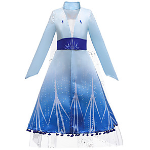 billige Film & TV-kostymer-Frozen Kjoler Cosplay Kostumer Kostume Jente Film-Cosplay Europeisk Helloween Blå Kjole Belte Barnas Dag