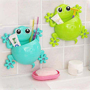 cheap Bathroom Gadgets-Cute Cartoon Gecko Model Toothbrush Toothpaste Wall Mount Sucker Makeup Holder Rack Children Bathroom Accessories Color Random