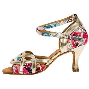 cheap Latin Shoes-Women's Dance Shoes Latin Shoes Heel Cuban Heel Gold / Performance