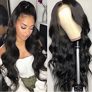cheap Synthetic Lace Wigs-Synthetic Lace Front Wig Wavy Gaga Middle Part Lace Front Wig Long Black#1B Synthetic Hair 22-26 inch Women's Heat Resistant Women Hot Sale Black / Glueless