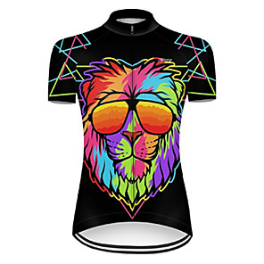 cheap Cycling Jerseys-21Grams Women's Short Sleeve Cycling Jersey Nylon Polyester Black / Yellow Gradient Animal Lion Bike Jersey Top Mountain Bike MTB Road Bike Cycling Breathable Quick Dry Ultraviolet Resistant Sports