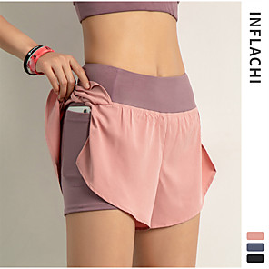cheap Burglar Alarm Systems-INFLACHI Women's Running Shorts Athletic Bottoms with Phone Pocket 2 in 1 Liner Gym Workout Marathon Running Jogging Trail Training Lightweight Breathable Quick Dry Sport Black Blushing Pink Blue