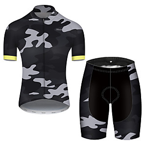 cheap Cycling Jerseys-21Grams Men's Short Sleeve Cycling Jersey with Shorts Nylon Polyester Camouflage Patchwork Camo / Camouflage Bike Clothing Suit Breathable 3D Pad Quick Dry Ultraviolet Resistant Reflective Strips
