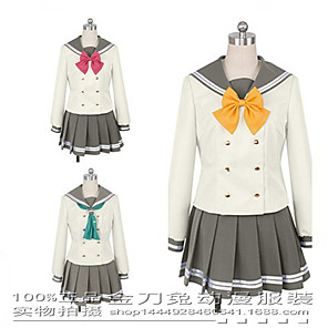 cheap Anime Costumes-Inspired by Love Live Anime Cosplay Costumes Japanese Cosplay Suits Top Skirt Bow Tie For Women's