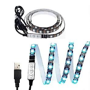 cheap LED Strip Lights-1set LED Light Strips RGB Tiktok Lights USB DC 5V 5050 RGB Mini 3Key Remote Flexible Light IP65 1m TV Background Lighting Ribbon Tape