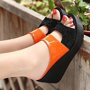 cheap Women's Sandals-Women's Clogs & Mules / Slippers & Flip-Flops Summer Wedge Heel Open Toe Daily PU Black / Orange / Beige
