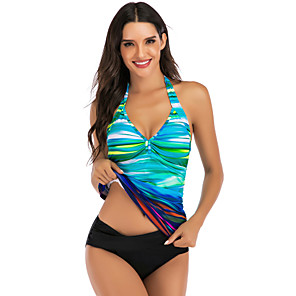 cheap Wetsuits, Diving Suits & Rash Guard Shirts-Women's Tankini Elastane Swimwear Breathable Quick Dry Sleeveless Swimming Surfing Water Sports Summer / Stretchy
