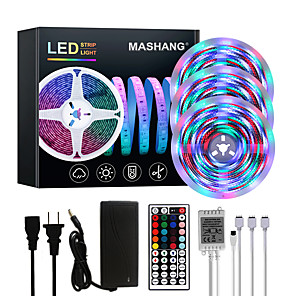 cheap LED Strip Lights-MASHANG Bright RGBW LED Strip Lights 15M(3*5M) Waterproof RGBW Tiktok Lights 3510LEDs SMD 2835 with 44 Keys IR Remote Controller and 100-240V Adapter for Home Bedroom Kitchen TV Back Lights DIY Deco
