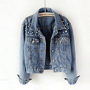 cheap Microphones-Women's Denim Jacket Regular Solid Colored Daily Blue S / M / L