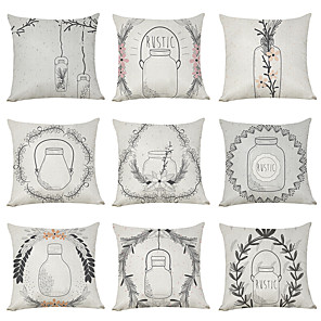 cheap Throw Pillow Covers-9 pcs Linen Pillow Cover, Bottle Floral Plants Casual Modern Square Traditional Classic