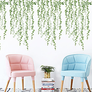 cheap Wall Stickers-Hazy Green Leaves Botanical Wall Stickers Plane Wall Stickers Decorative Wall Stickers PVC Home Decoration Wall Decal Wall Decoration 2pcs