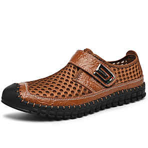 cheap Men's Sandals-Men's Spring / Summer Sporty / Casual Daily Outdoor Sandals Walking Shoes Mesh Breathable Handmade Non-slipping Dark Brown / Black / Green