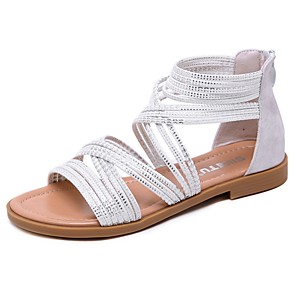cheap Women's Sandals-Women's Sandals Summer Flat Heel Open Toe Roman Shoes Boho Daily PU White / Black