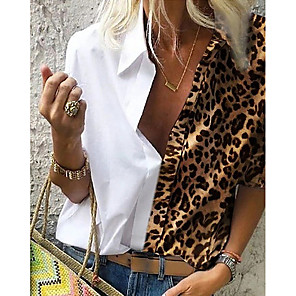 cheap Tools & Accessories-Women's Plus Size Shirt Leopard Loose Tops Shirt Collar Light Brown White Blue / Long Sleeve