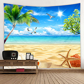 cheap Wall Stickers-Sunny Beach Starfish Digital Printed Tapestry Decor Wall Art Tablecloths Bedspread Picnic Blanket Beach Throw Tapestries Colorful Bedroom Hall Dorm Living Room Hanging