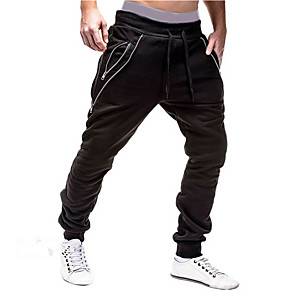 cheap Running & Jogging Clothing-Men's Sporty Basic Daily Slim Sweatpants Pants Solid Colored Black White Drawstring Sports Spring Winter Black Light gray Dark Gray US36 / UK36 / EU44 US38 / UK38 / EU46 US40 / UK40 / EU48