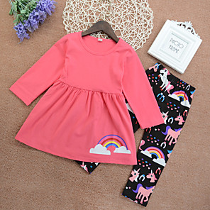 cheap Kids Collection Under $8.99-Kids Girls' Active Basic School Daily Wear Unicorn Print Print Long Sleeve Regular Long Clothing Set Blushing Pink