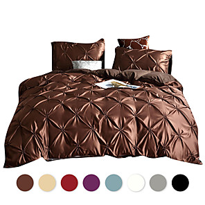 cheap Solid Duvet Covers-Duvet Cover Sets Solid Color /Luxury / Contemporary Polyster Pleated 3 Piece Bedding Set With Pillowcase Bed Linen Sheet Single Double Queen King Size Quilt Covers Bedclothes