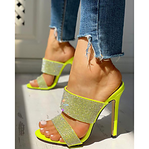 cheap Women's Sandals-Women's Sandals Glitter Crystal Sequined Jeweled 2020 Summer Stiletto Heel Open Toe Sexy Daily Rhinestone Solid Colored PU Yellow