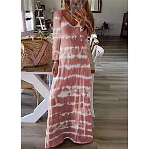 cheap Maxi Dresses-Women's Maxi long Dress - Long Sleeve Tie Dye Print Spring Summer V Neck Plus Size Casual Holiday Vacation Loose 2020 Black Blushing Pink Khaki Green Dusty Blue Gray S M L XL XXL XXXL XXXXL XXXXXL