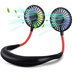cheap Cell Phone Cables-Portable Neck Fan Lazy Neckband Fan Personal Wearable Hands Free Fan 3 Speeds and LED Lights with Aromatherapy 360 Free Rotation Lower Noise Strong Airflow Headphone Design Sport Office Home Travel